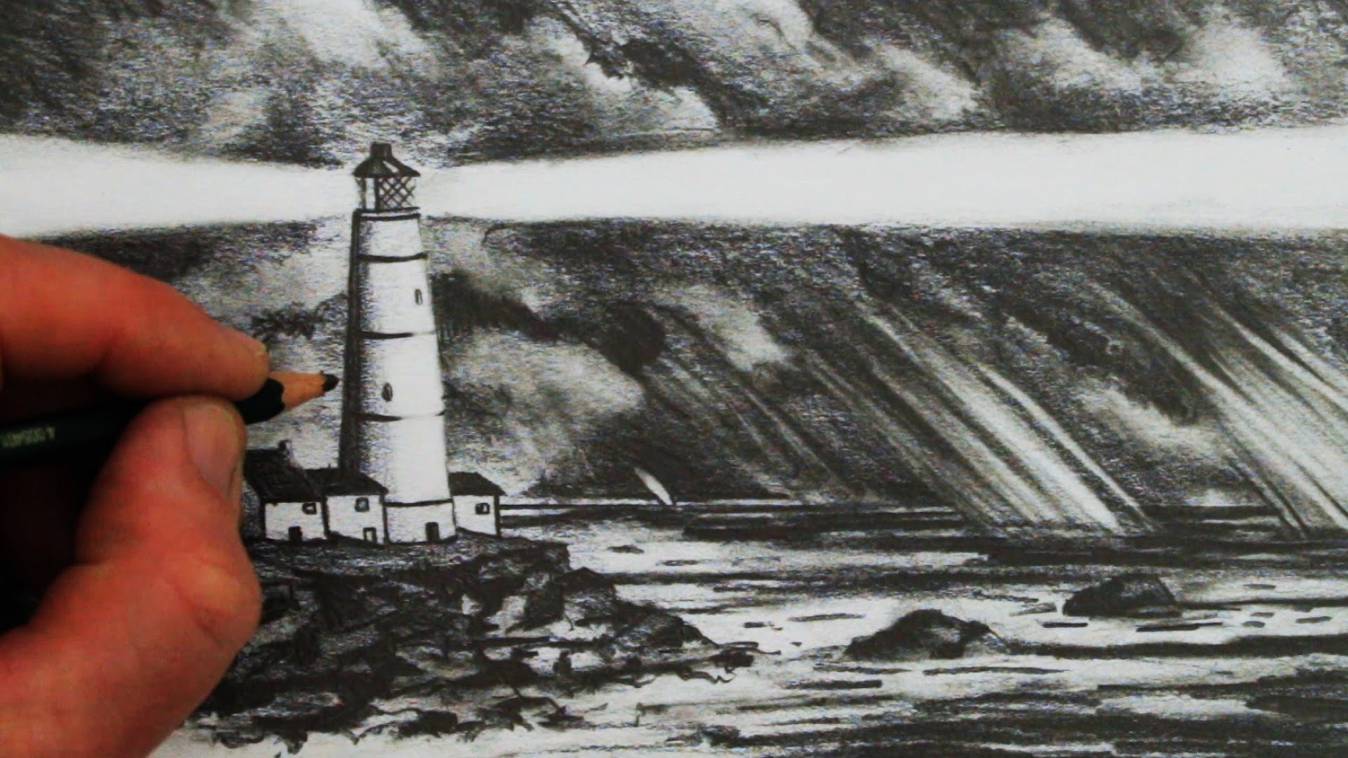 1920x1080 How to Draw a Lighthouse, the Sea and Sky