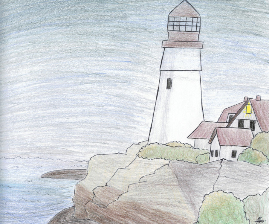 900x749 Lighthouse drawing by ShadowWolfKnight on DeviantArt