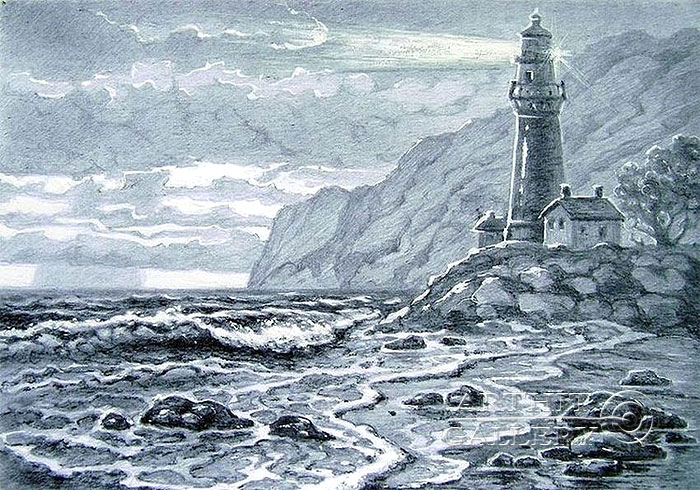 700x490 Pencil drawings. Drawing. Evening. Lighthouse. Kulagin Oleg