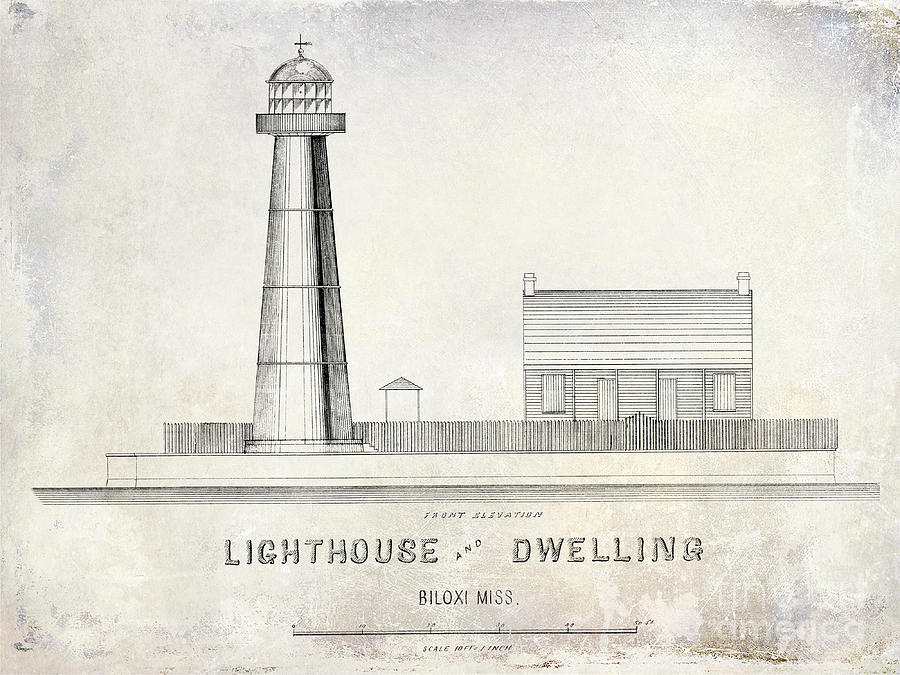 900x675 Biloxi Lighthouse Drawing Drawing By Jon Neidert
