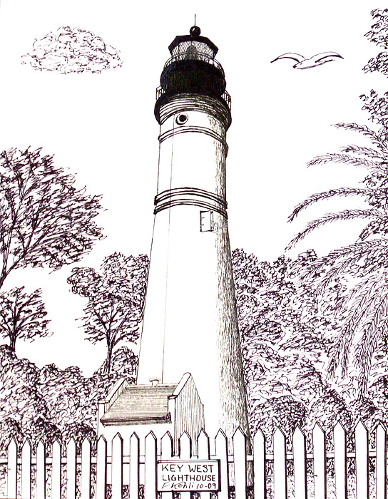 544x700 Key West Lighthouse Drawing By Frederic Kohli