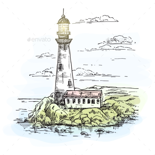 590x590 Lighthouse On Island With Rocks Sketch By Cookamoto Graphicriver