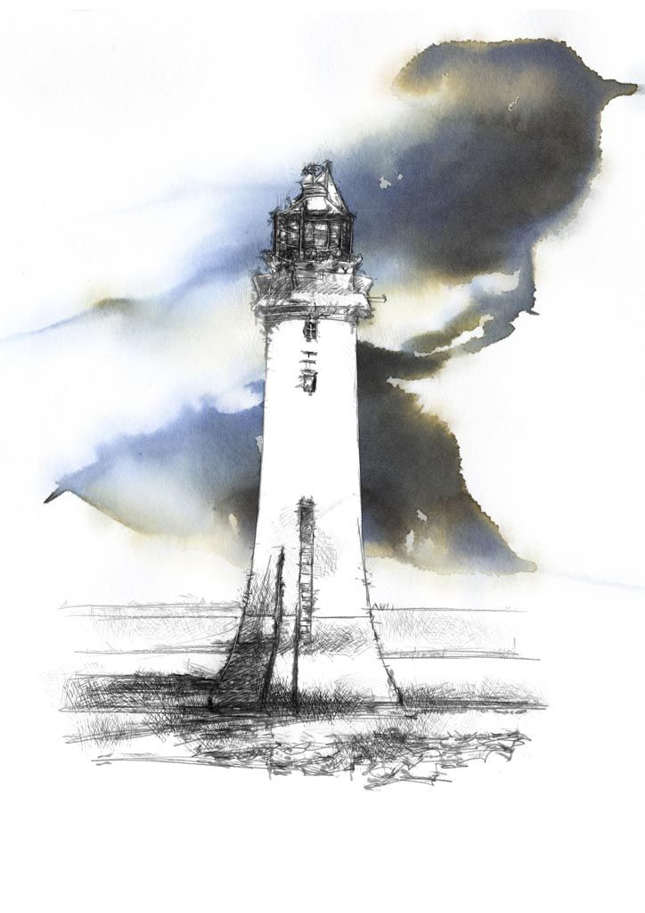 724x1024 Lighthouse With Ink Wash Clouds