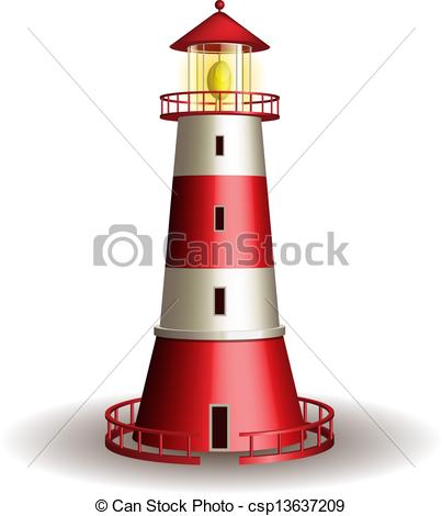 403x470 Red Lighthouse Isolated On White Background. Vector Vector