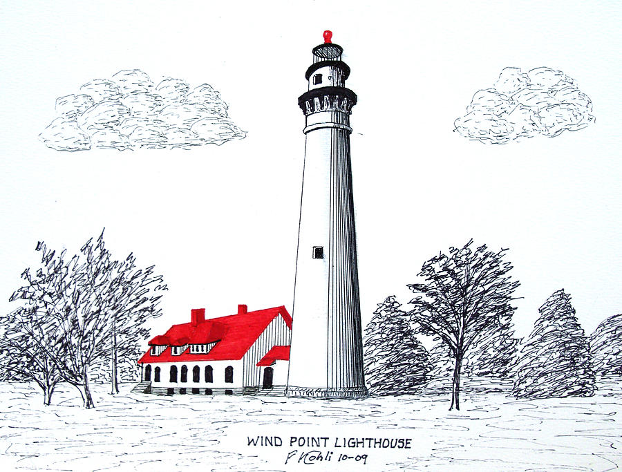 900x683 Wind Point Lighthouse Drawing By Frederic Kohli