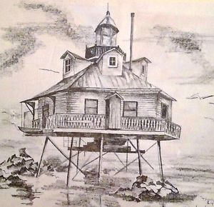 300x290 Framed Thomas Point Lighthouse Pencil Sketch Print