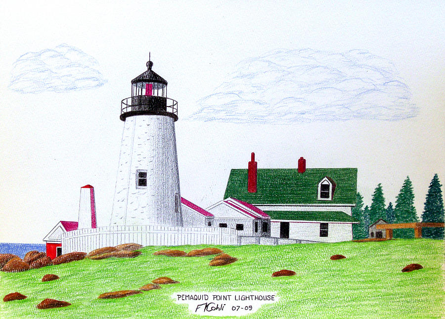 900x644 Pemaquid Point Lighthouse Drawing By Frederic Kohli