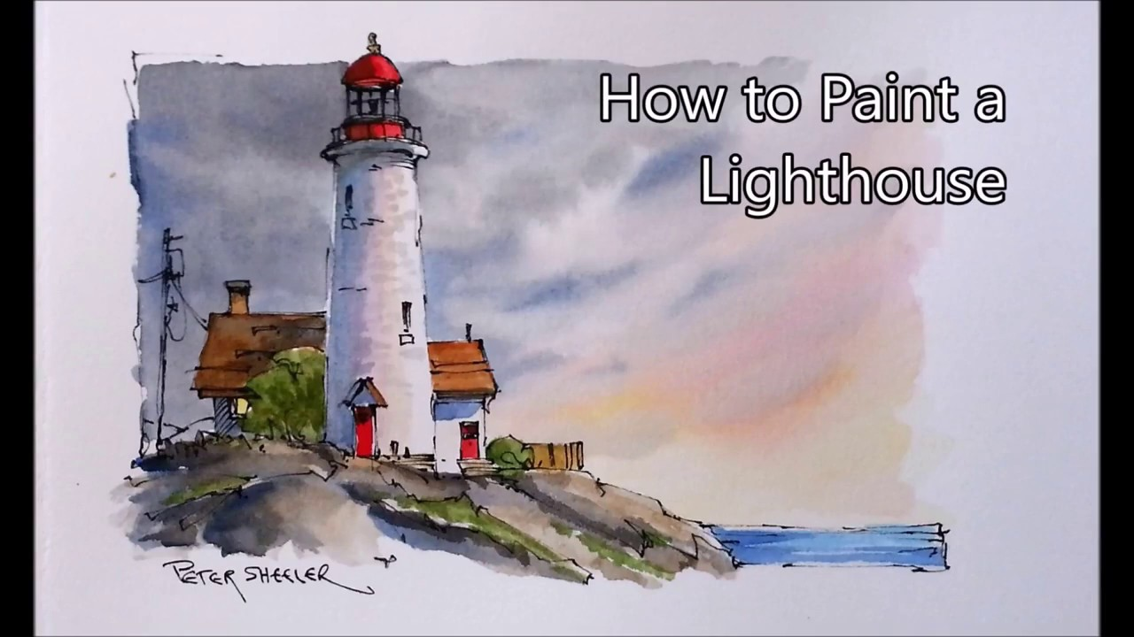 1280x720 How To Draw And Paint A Lighthouse Line And Wash Watercolor