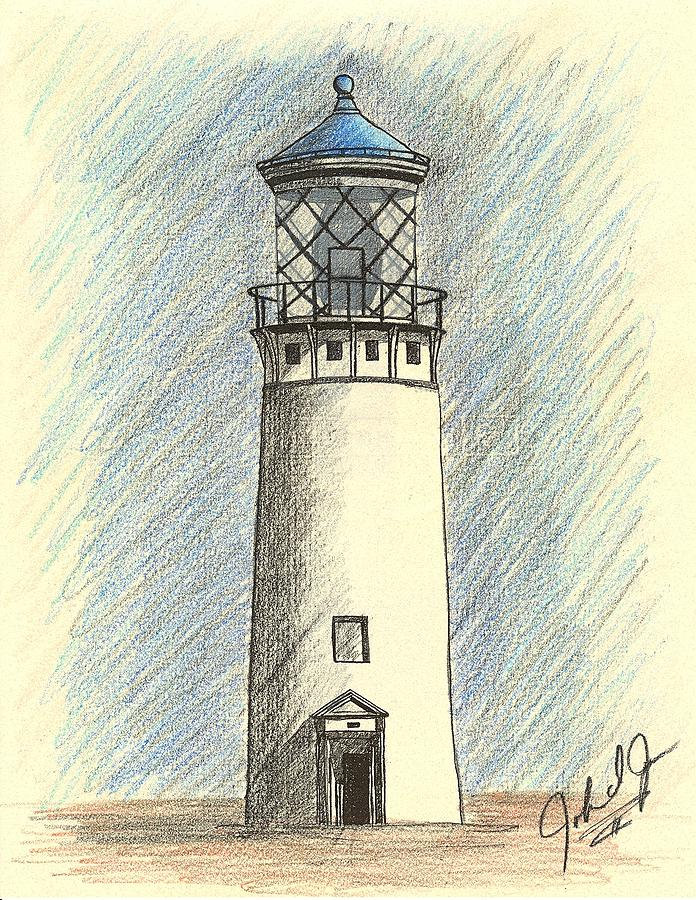 696x900 Lighthouse Of Hawaii In Blue Drawing By John Jones