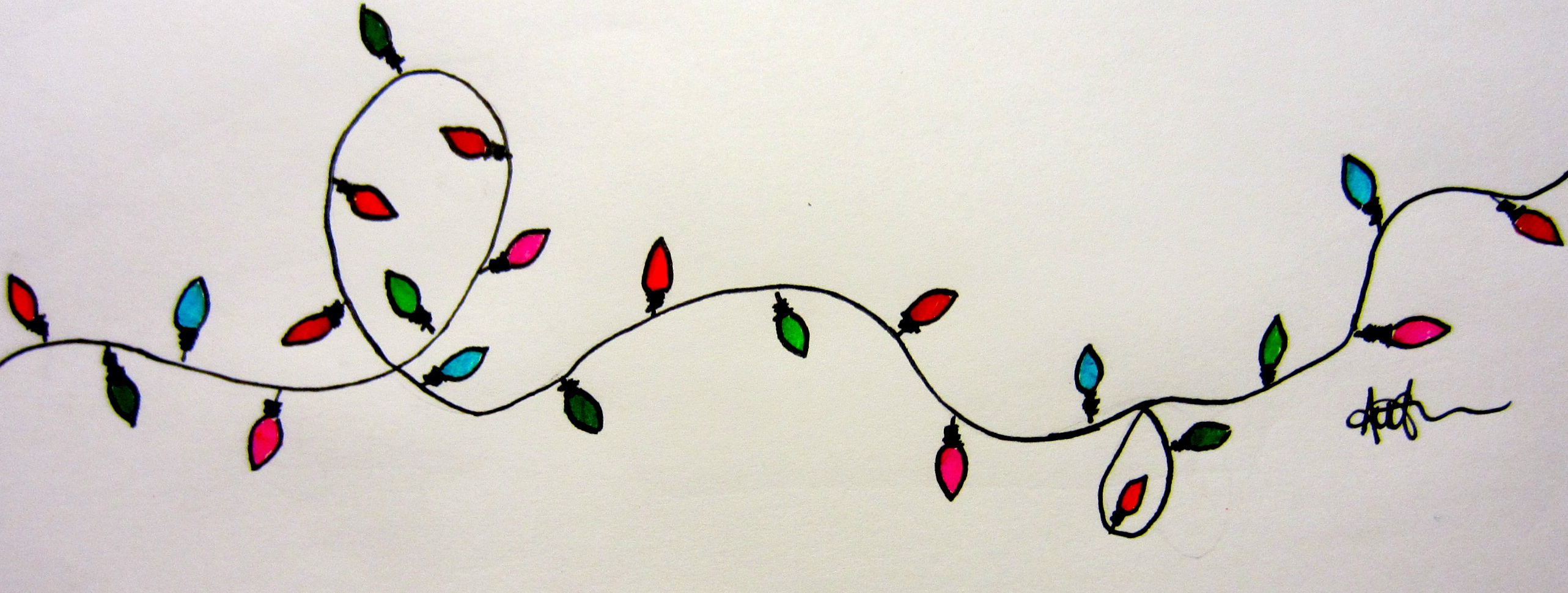 2565x970 Best Photos Of Christmas Lights Drawing How To Draw, Christmas