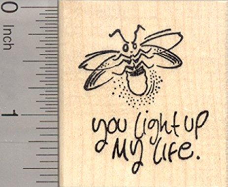 463x379 Valentine's Day Rubber Stamp, Lightning Bug, Firefly