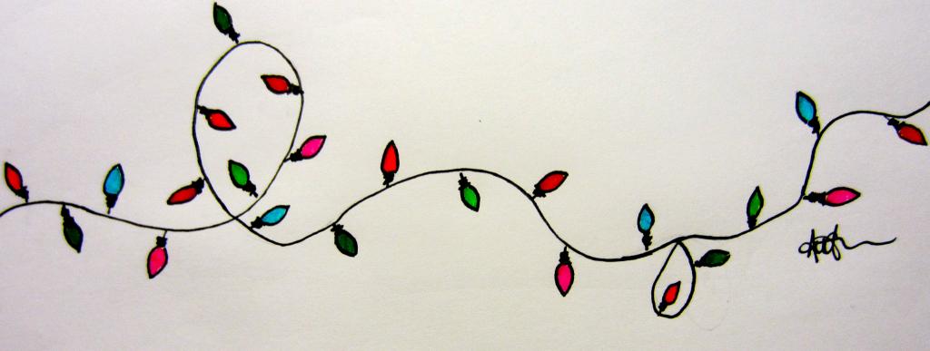 1024x387 Drawing Of Christmas Lights