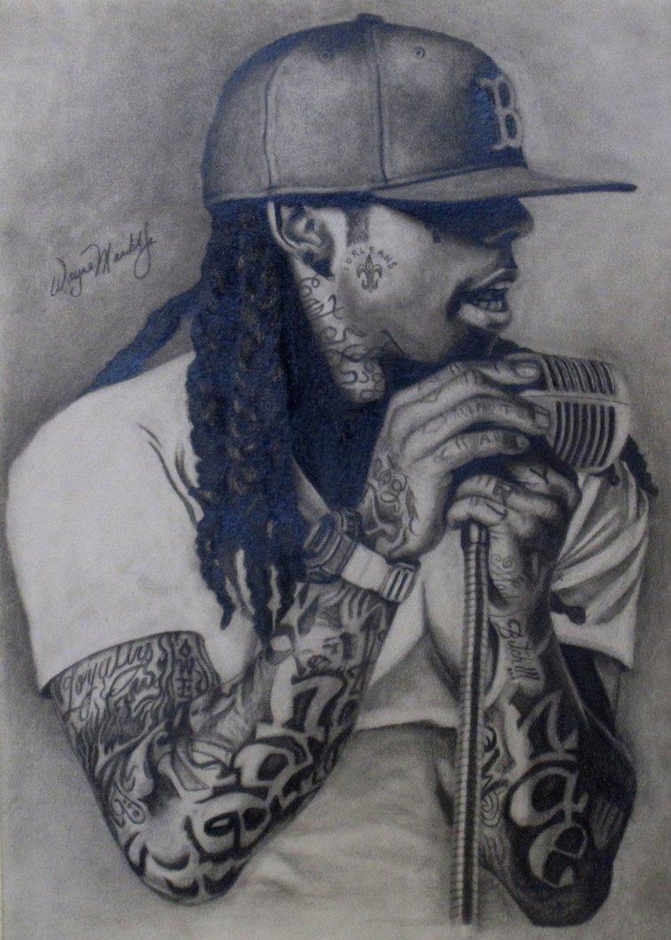 756x1058 Lil Wayne Portrait Drawing By Waynemaribitojr