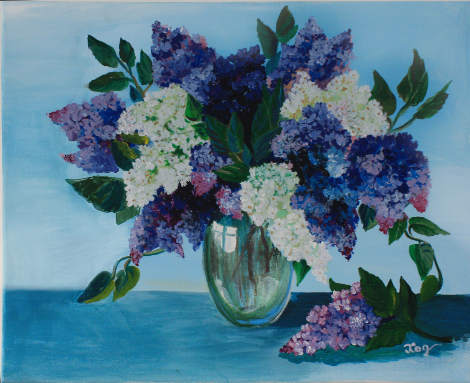 1500x1223 Acrylic Painting Canvas Art Flower Lilac Wall Home Decorations