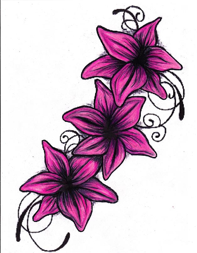 628x806 Lily Tattoo Drawing