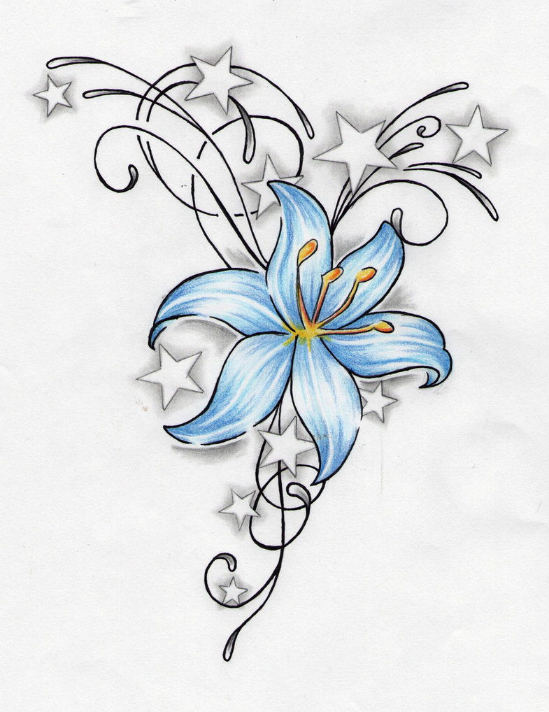 Lily flower tattoo drawing at getdrawings free for personal 785x1018 stars and blue lily flower tattoo design izmirmasajfo Choice Image