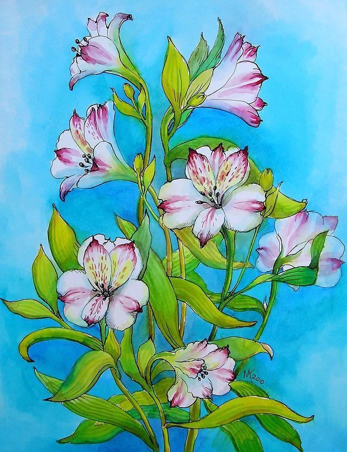 690x900 Lily Flowers Drawing By Khromykh Natalia