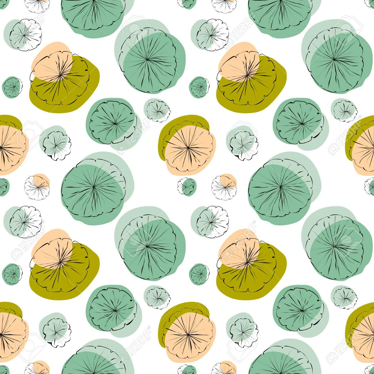 1300x1300 Water Lily Pad Vector Seamless Pattern In Line Drawing Style