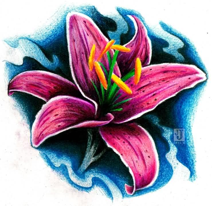 740x718 Pink Lily Tattoo Idea