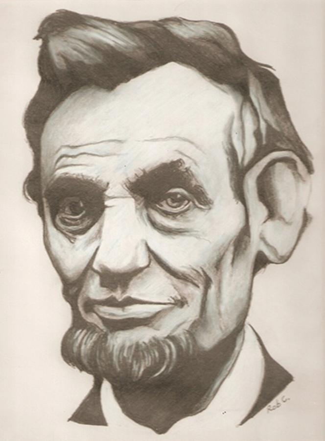 664x900 Abraham Lincoln Drawing Drawing By Robert Crandall