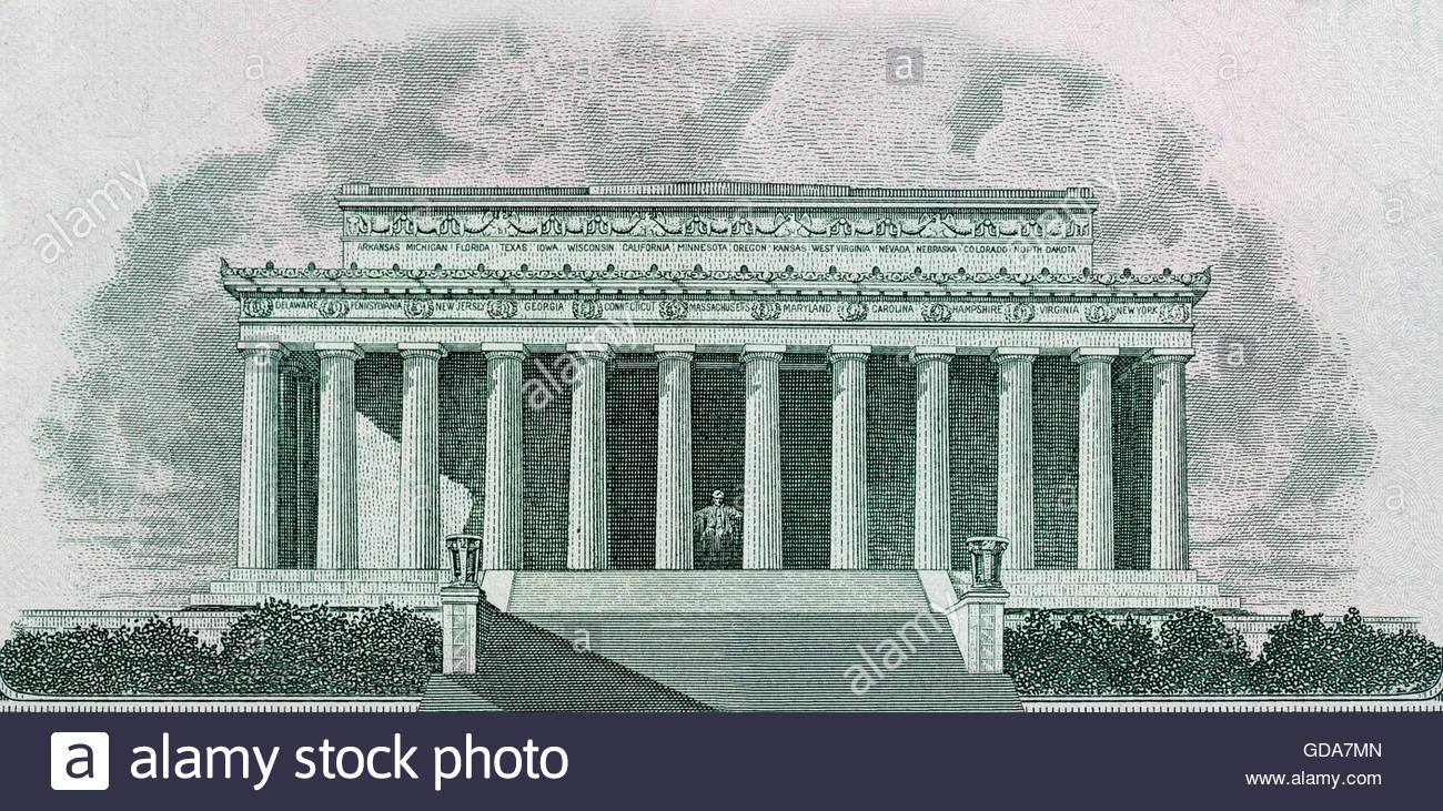 1300x731 Drawing Of Lincoln Memorial In Washington Dc Printed On Banknotes