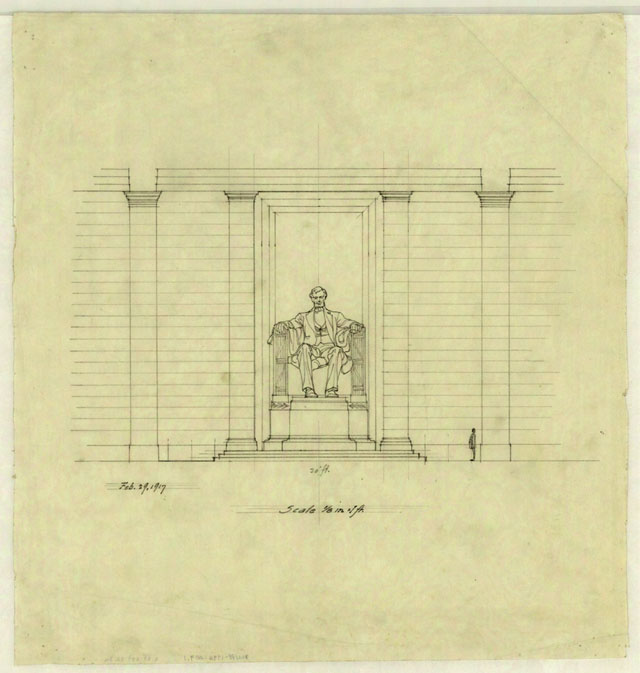 640x673 Henry Bacon's Early Drawings Of The Lincoln Memorial