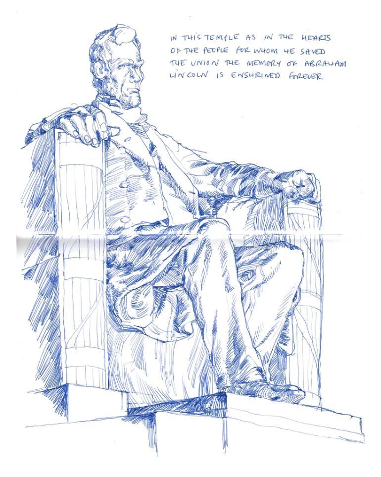 770x963 Saatchi Art Lincoln Memorial Drawing By Richard Johnson