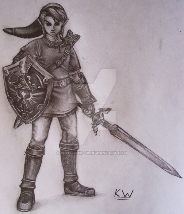 600x700 Link Pencil Drawing By Spectrum Vii