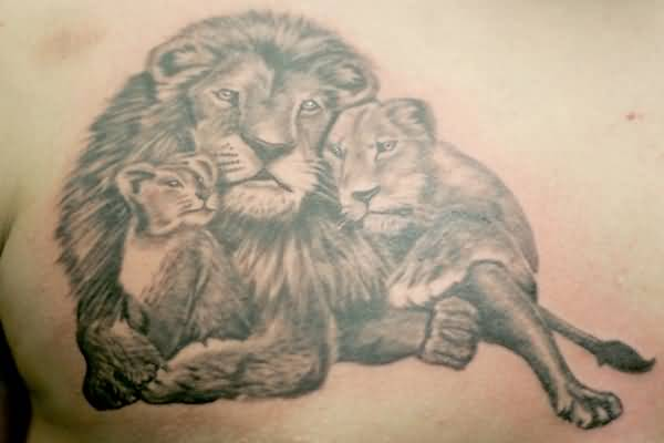 600x400 Nice Animated Lion Cub Tattoo On Back Shoulder