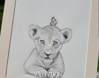 340x270 Lion Pencil Artwork Etsy