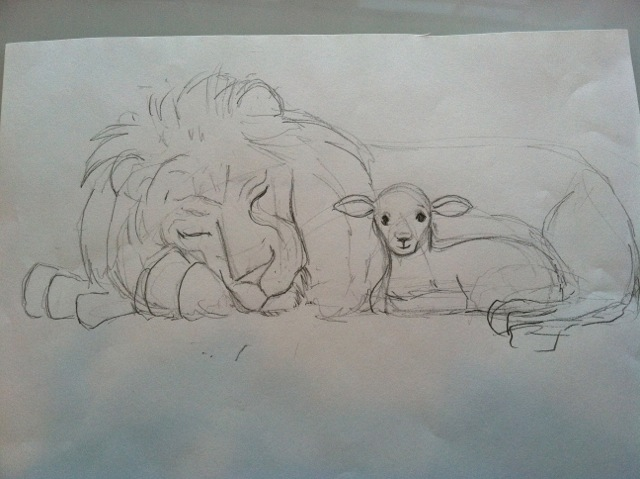 640x479 The Lion And The Lamb April Heather Art