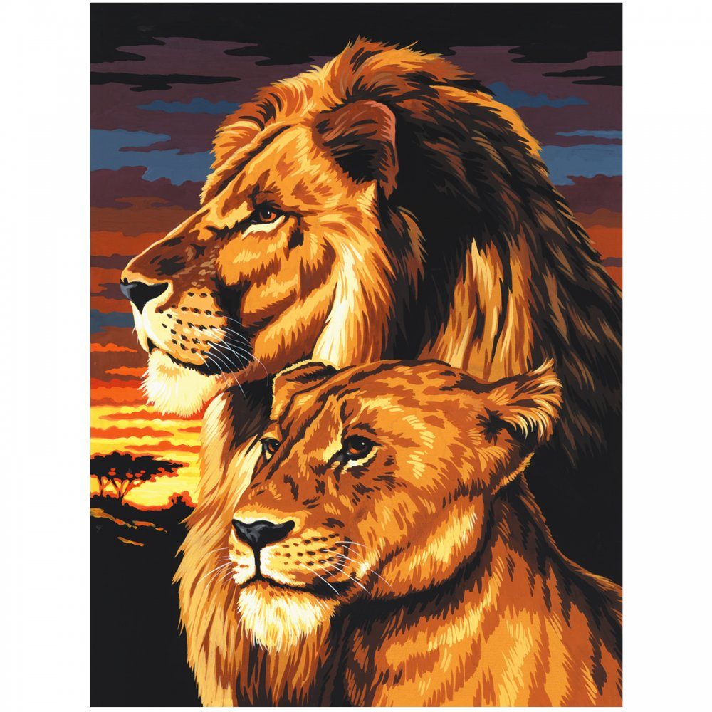 1000x1000 Lion Amp Lioness Painting By Numbers