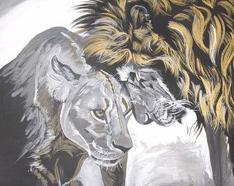340x270 Lion Lioness Decor Etsy