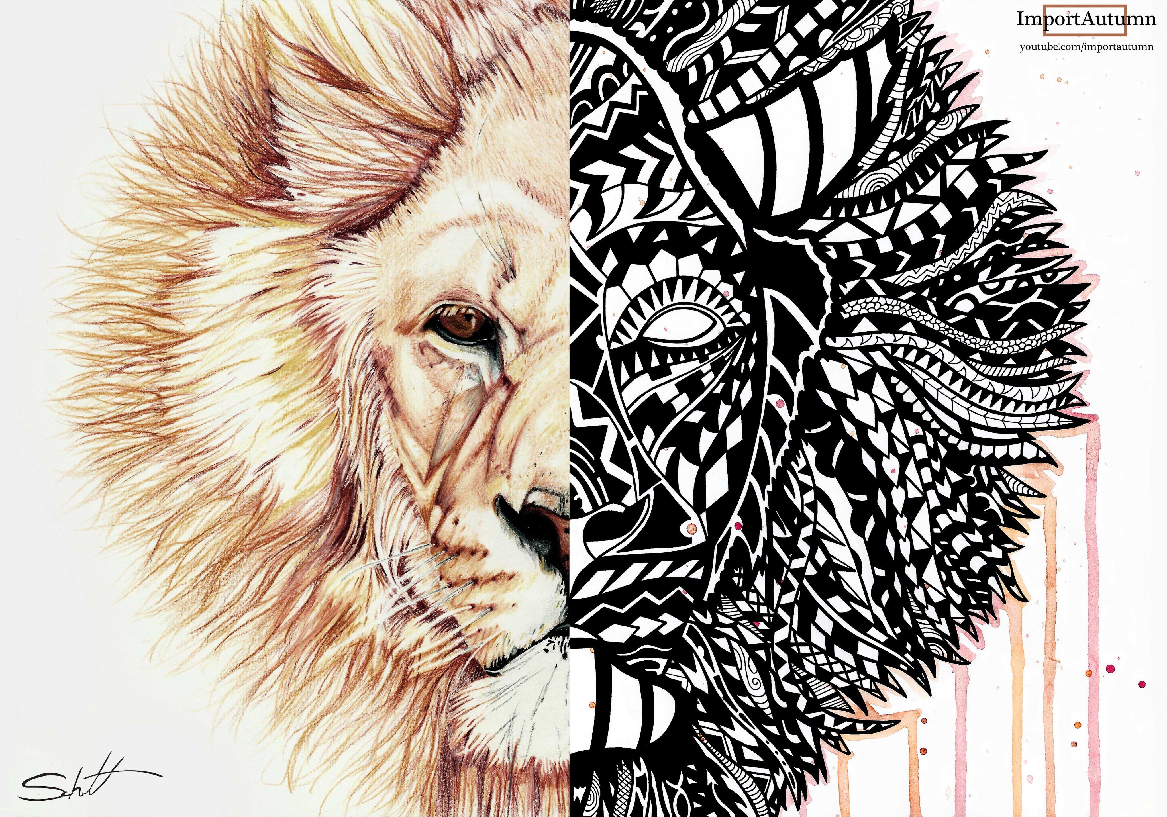 4096x2868 Polynesian + Zentangle Lion [Art Collab With Schutt Art]