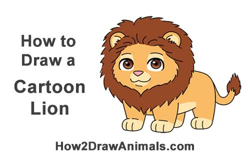 500x315 How To Draw A Lion (Cartoon)
