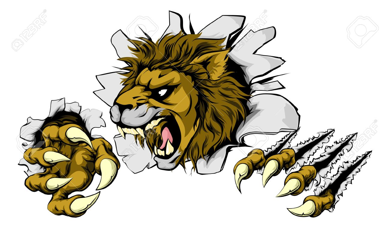 1300x762 A Scary Lion Mascot Ripping Through The Background With Sharp