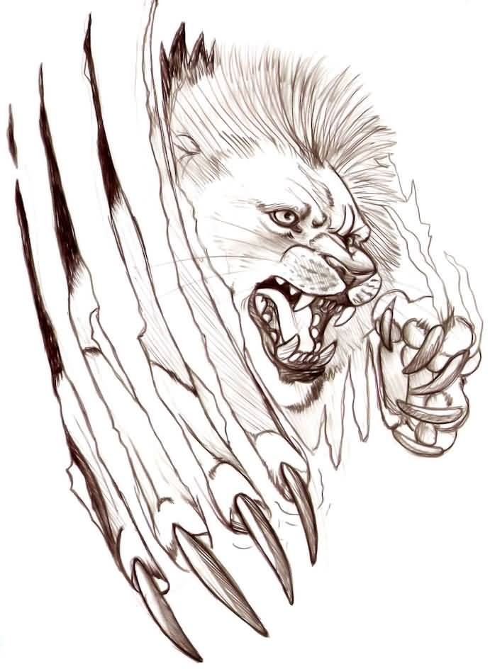 691x944 Awesome Lion Claw Tattoo Design On Paper