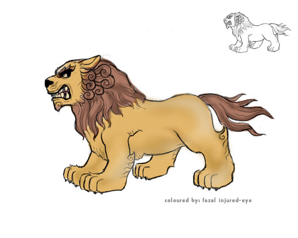 600x480 Lion Colour Sketch By Injured Eye
