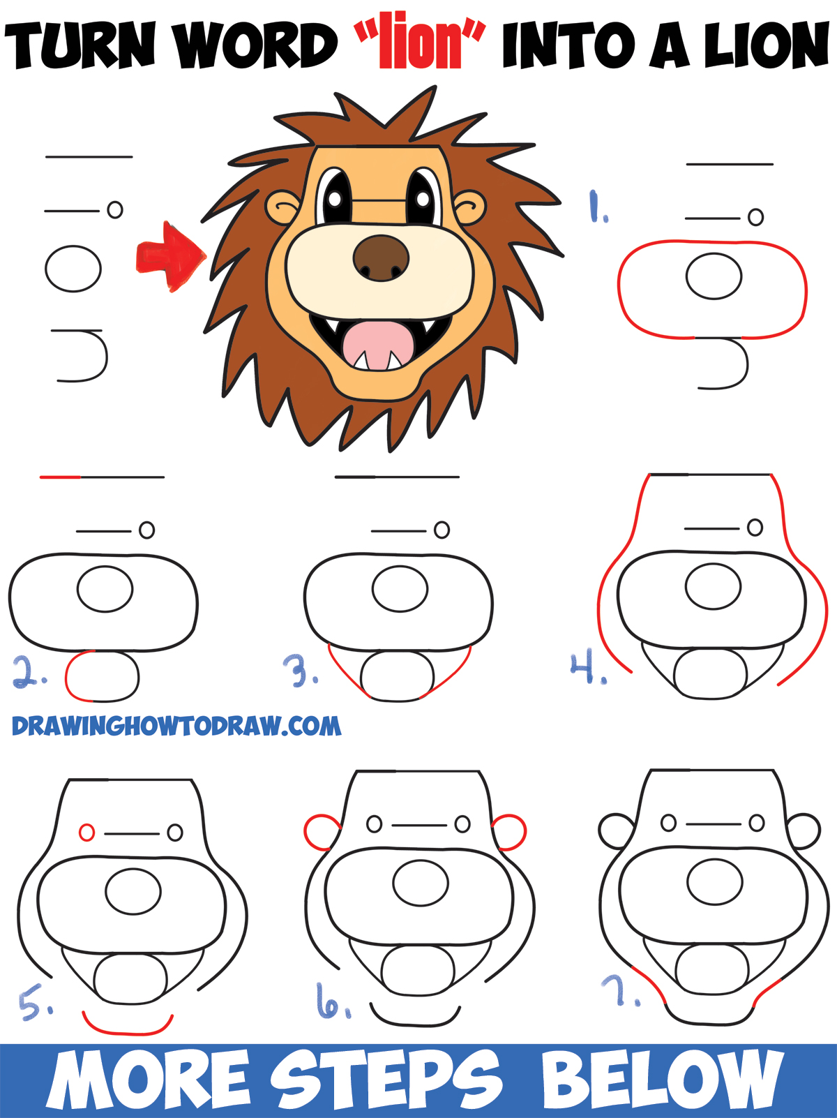 1200x1602 How To Turn The Word Lion Into A Cartoon Lion Easy Step By