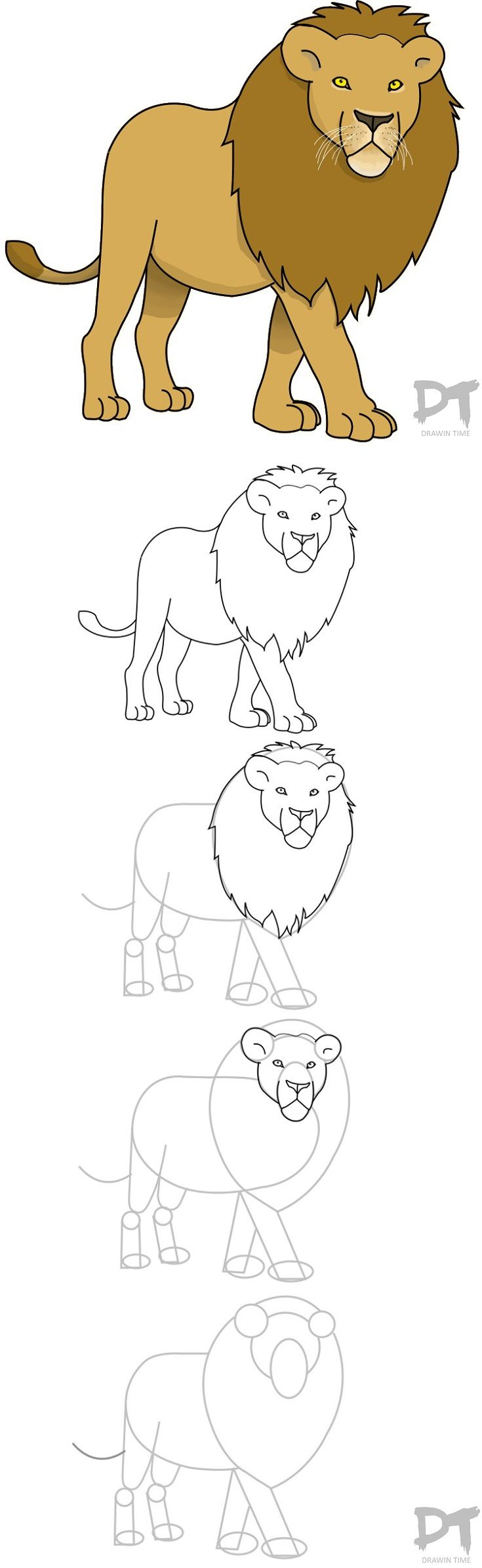735x2388 How To Draw A Cartoon Lion Step By Step. Drawing Tutorials