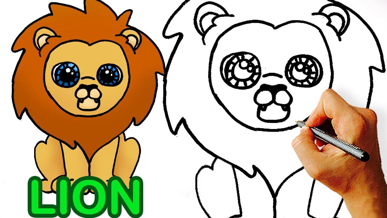 1280x720 Cartoon Lion Drawing Very Easy! How To Draw Cute Cartoon Lion Art