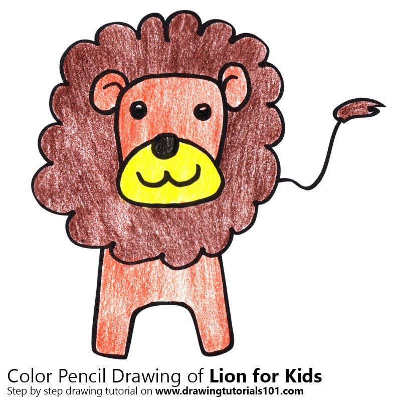 800x800 Lion For Kids Colored Pencils