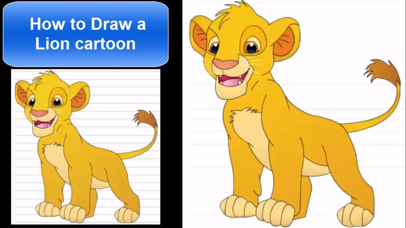 1366x768 How To Draw Lion For Kids Step By Step For Beginners