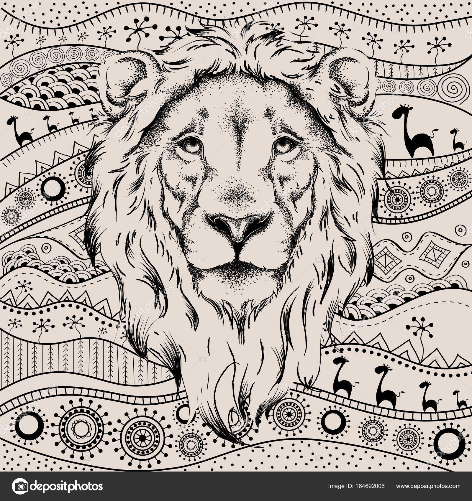 1600x1700 Ethnic Hand Drawing Head Of Lion On African Hand Drawn Ethno