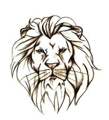 372x410 Lion Head Outline Tattoo