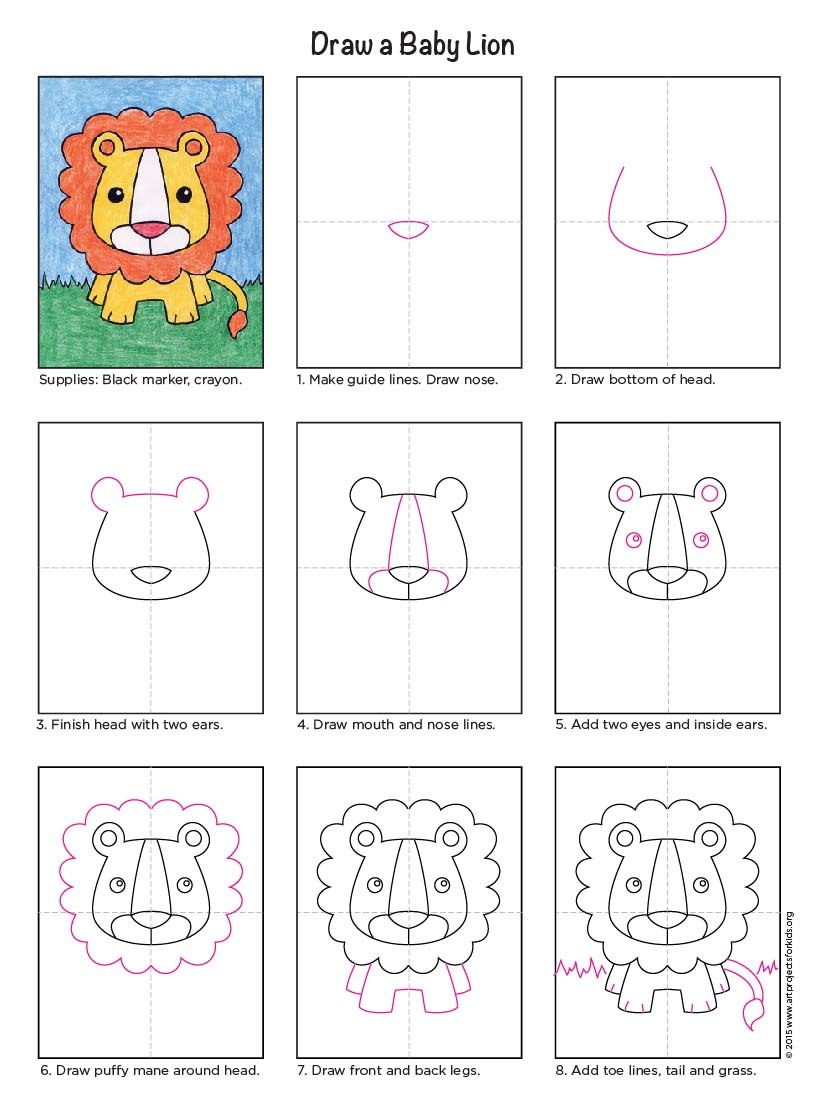 821x1103 Draw A Baby Lion
