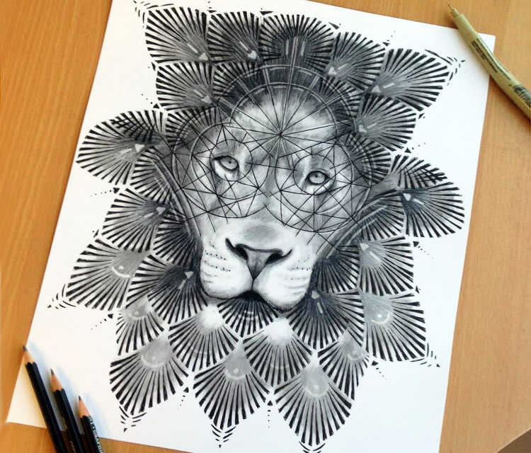 750x640 Ornament Lion Drawing Dino Tomic No. 683