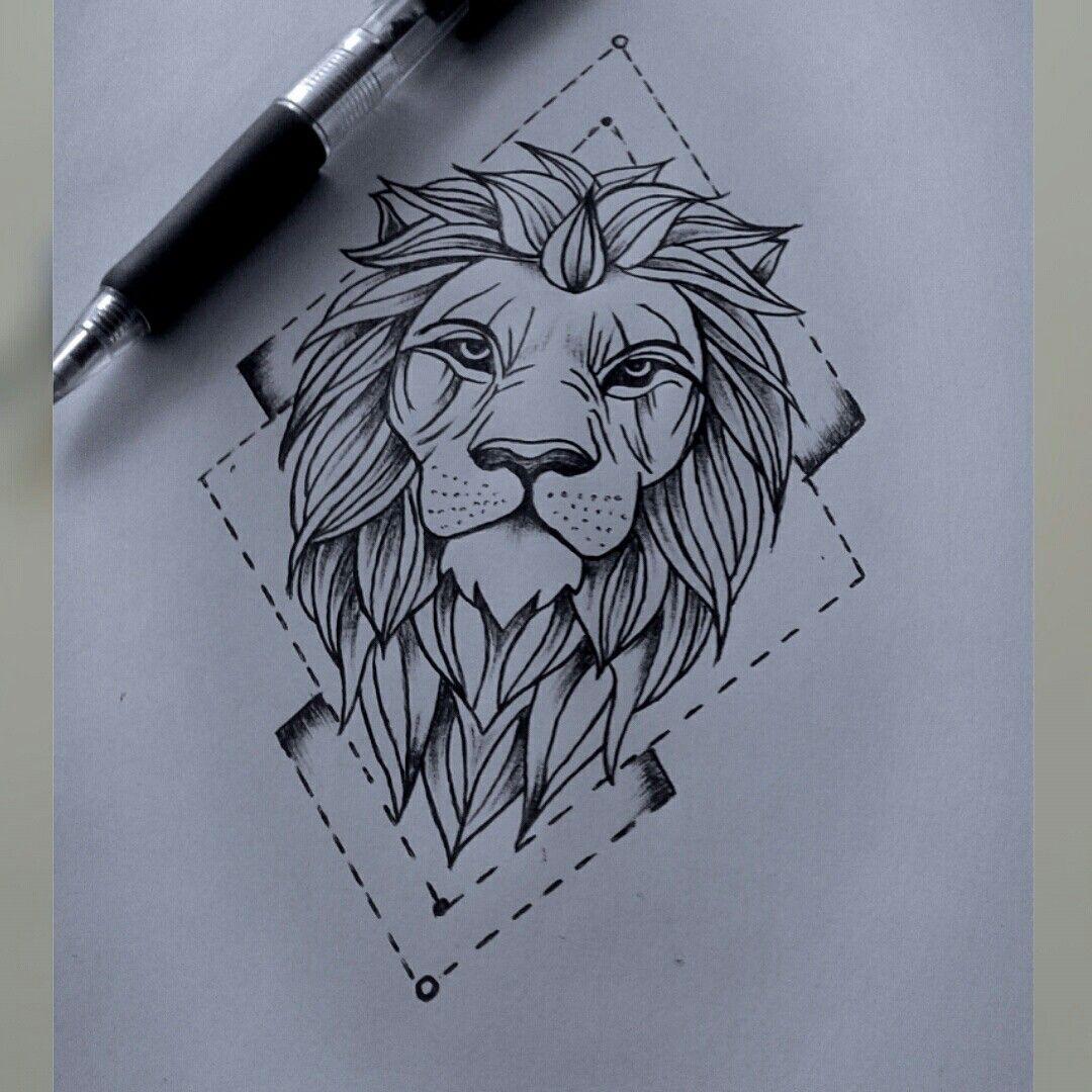 1080x1080 Lion Drawing
