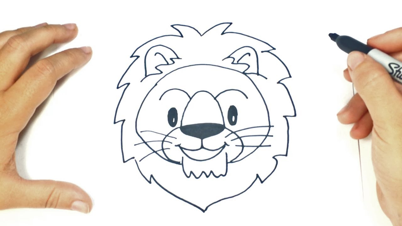 1280x720 Easy Lion Face Drawing Simple Lion Head Drawing Easy Lion Face