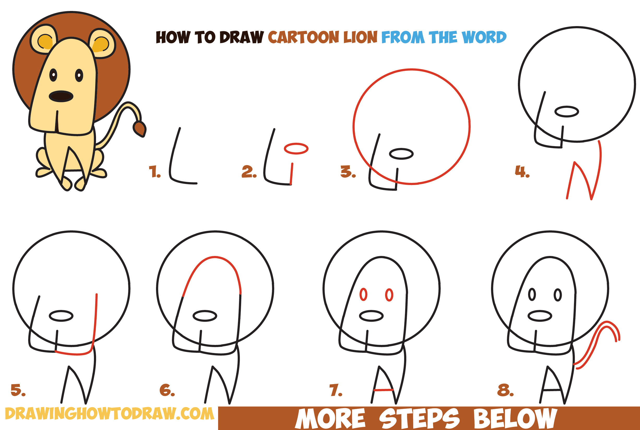 2453x1648 How To Draw Cartoon Lion From The Word Easy Step By Step Drawing